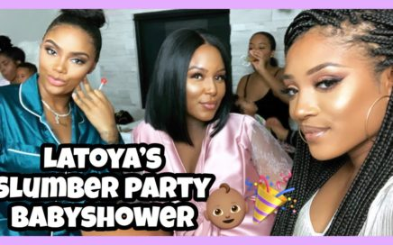 Attending LaToya's Slumber Party Baby Shower.