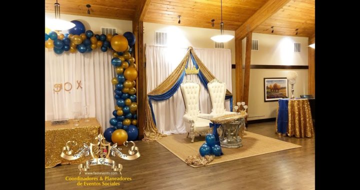 BABY SHOWER DECORACION COLOR AZUL ROYAL Y DORADO
