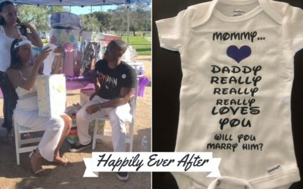 Baby Shower Surprise Proposal Using Baby Grow