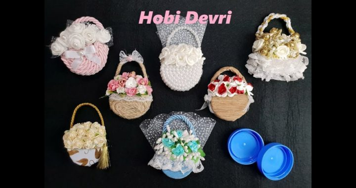 DIY,Making Flower Basket With Plastic Bottles Cap,Wedding Favors,Baby Shower, Kapaklardan Sepet