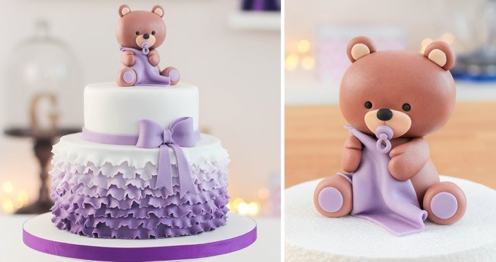 Easy Baby Shower Cake + Bear cake Topper - Tan Dulce