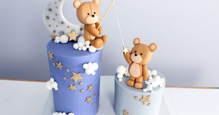 Moon And Stars Teddy Bear Baby Shower Cake! | Twinkle Twinkle Little Star Cake