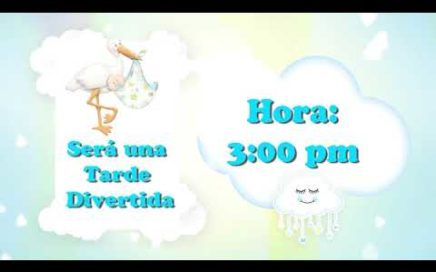 Video Baby Shower Nubes Niño Tarjeta de Invitación Animada